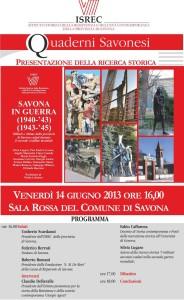 """Prsentazione del volume """"Savona in guerra, 1940-'43/1943-'45""""."""