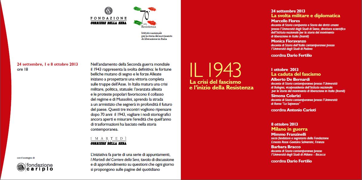 Post image of Il 1943. La crisi del fascismo e l'inizio della Resistenza