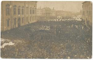 Il funerale delle vittime dell'eccidio del 7 aprile 1920