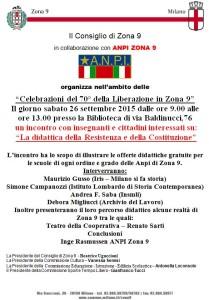 locandina Anpi-Zona 9 La didattica della Resistenza e della Costituzione, Milano, 26.09.2015